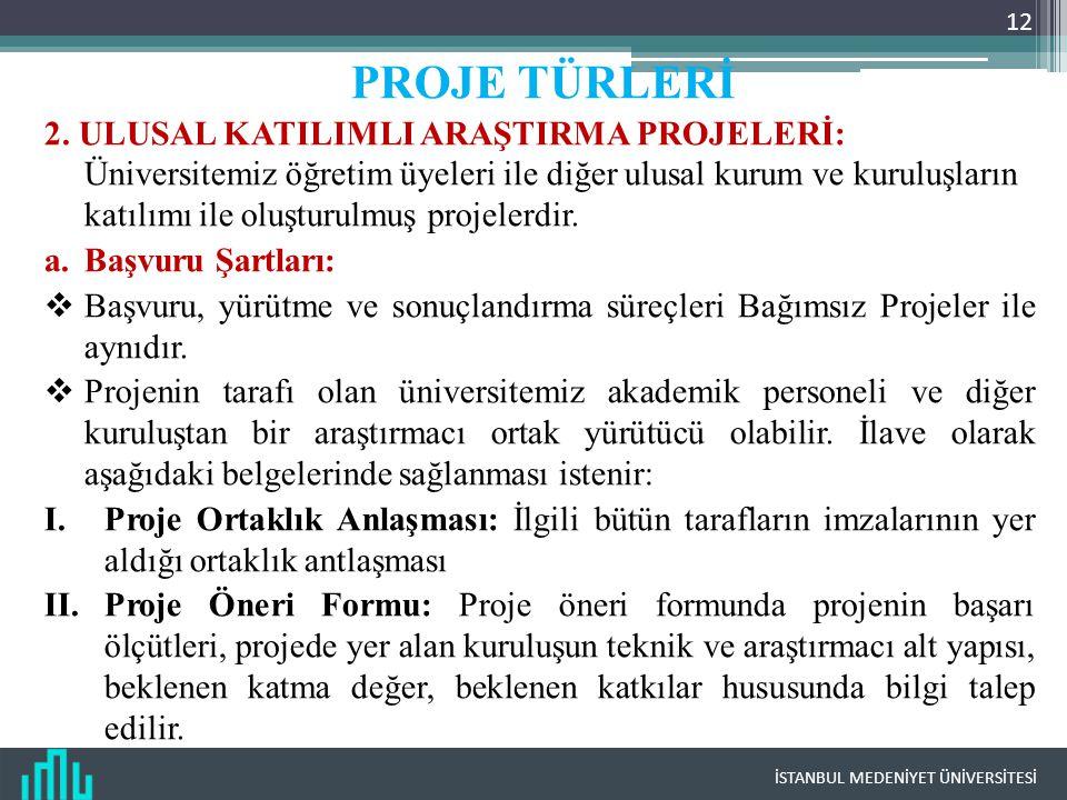 İSTANBUL MEDENİYET ÜNİVERSİTESİ 12 PROJE TÜRLERİ 2.