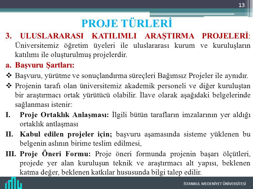 İSTANBUL MEDENİYET ÜNİVERSİTESİ 13 PROJE TÜRLERİ 3. ULUSLARARASI KATILIMLI ARAŞTIRMA PROJELERİ: Üniversitemiz öğretim üyeleri ile uluslararası kurum v