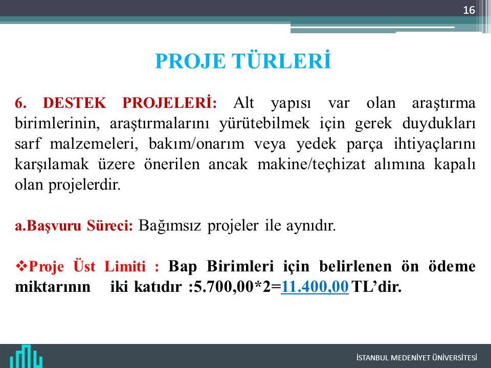 İSTANBUL MEDENİYET ÜNİVERSİTESİ 16 PROJE TÜRLERİ 6.