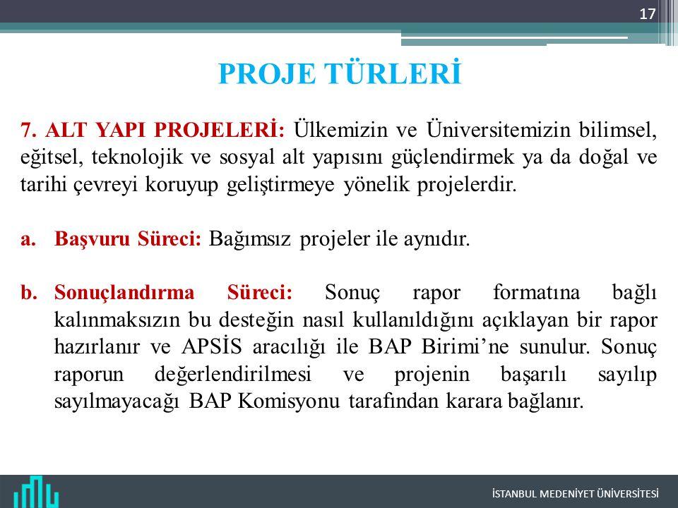 İSTANBUL MEDENİYET ÜNİVERSİTESİ 17 PROJE TÜRLERİ 7.