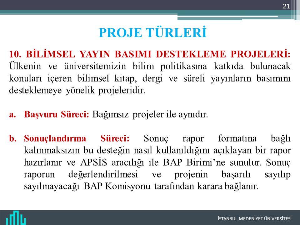 İSTANBUL MEDENİYET ÜNİVERSİTESİ 21 PROJE TÜRLERİ 10.