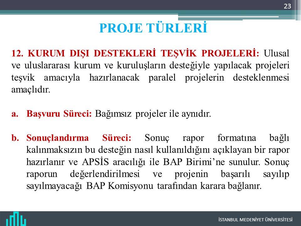 İSTANBUL MEDENİYET ÜNİVERSİTESİ 23 PROJE TÜRLERİ 12.
