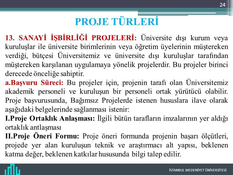 İSTANBUL MEDENİYET ÜNİVERSİTESİ 24 PROJE TÜRLERİ 13. SANAYİ İŞBİRLİĞİ PROJELERİ: Üniversite dışı kurum veya kuruluşlar ile üniversite birimlerinin vey