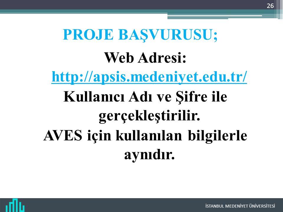 İSTANBUL MEDENİYET ÜNİVERSİTESİ PROJE BAŞVURUSU; Web Adresi: http://apsis.medeniyet.edu.tr/ Kullanıcı Adı ve Şifre ile gerçekleştirilir. AVES için kul