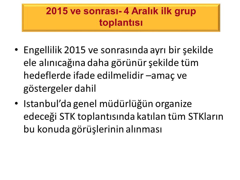 4 Aralık 2012 grup toplantısının sonuçları Engellilik 2015 ve sonrasında ayrı bir şekilde ele alınıcağına daha görünür şekilde tüm hedeflerde ifade edilmelidir –amaç ve göstergeler dahil Istanbul'da genel müdürlüğün organize edeceği STK toplantısında katılan tüm STKların bu konuda görüşlerinin alınması 2015 ve sonrası- 4 Aralık ilk grup toplantısı