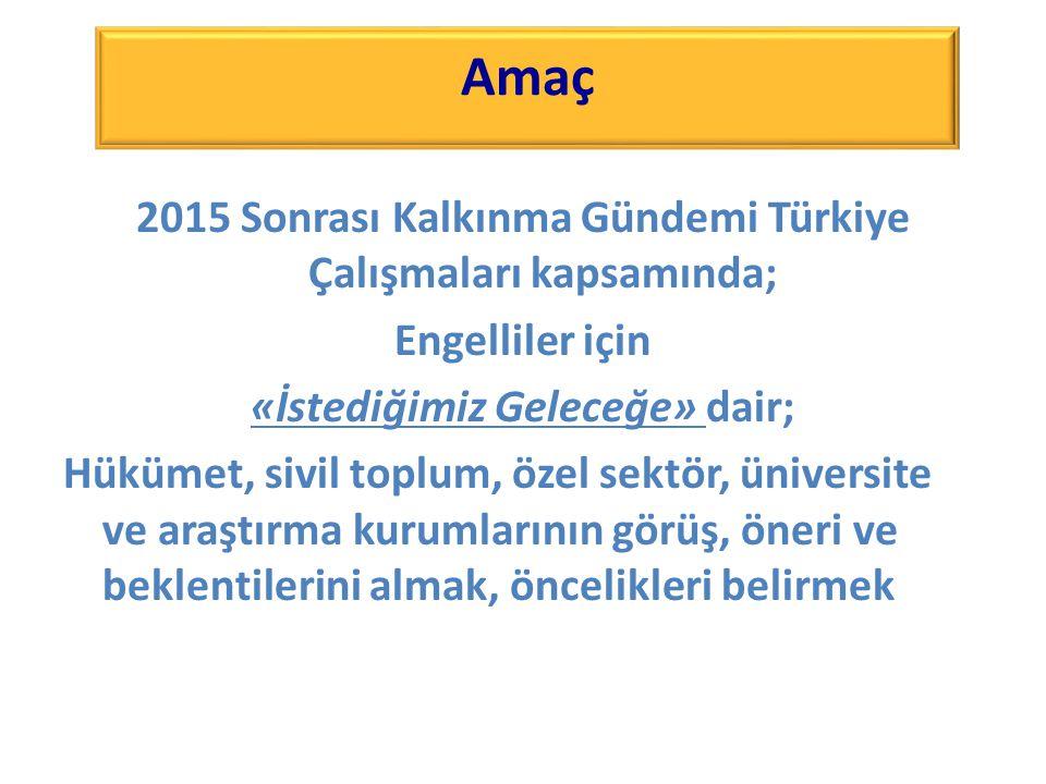 2015 Sonrası Kalkınma Gündemi Türkiye Çalışmaları kapsamında; Engelliler için «İstediğimiz Geleceğe» dair; Hükümet, sivil toplum, özel sektör, üniversite ve araştırma kurumlarının görüş, öneri ve beklentilerini almak, öncelikleri belirmek