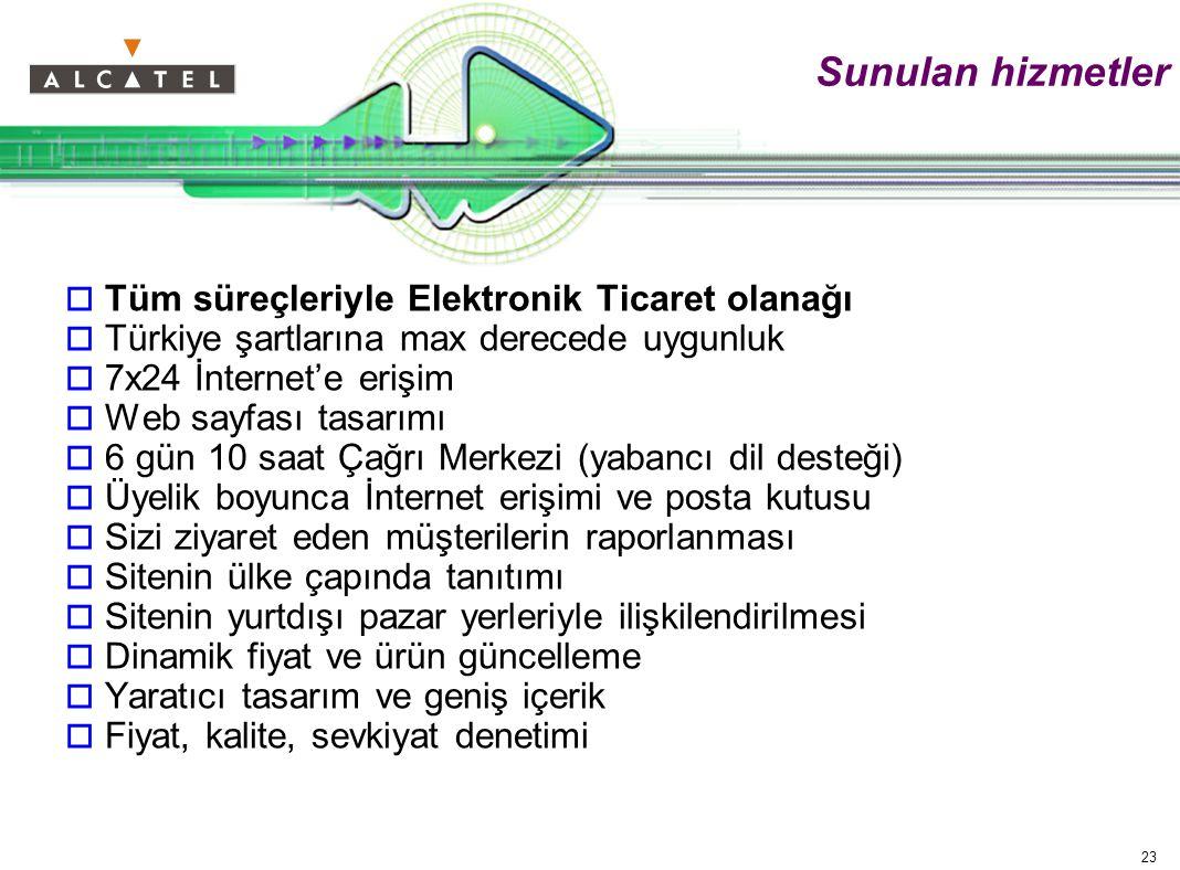 23 Sunulan hizmetler  Tüm süreçleriyle Elektronik Ticaret olanağı  Türkiye şartlarına max derecede uygunluk  7x24 İnternet'e erişim  Web sayfası tasarımı  6 gün 10 saat Çağrı Merkezi (yabancı dil desteği)  Üyelik boyunca İnternet erişimi ve posta kutusu  Sizi ziyaret eden müşterilerin raporlanması  Sitenin ülke çapında tanıtımı  Sitenin yurtdışı pazar yerleriyle ilişkilendirilmesi  Dinamik fiyat ve ürün güncelleme  Yaratıcı tasarım ve geniş içerik  Fiyat, kalite, sevkiyat denetimi