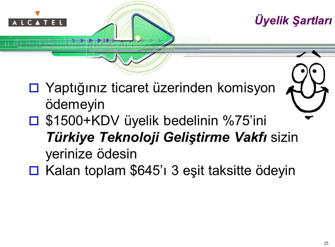 25 Üyelik Şartları  Yaptığınız ticaret üzerinden komisyon ödemeyin  $1500+KDV üyelik bedelinin %75'ini Türkiye Teknoloji Geliştirme Vakfı sizin yerinize ödesin  Kalan toplam $645'ı 3 eşit taksitte ödeyin
