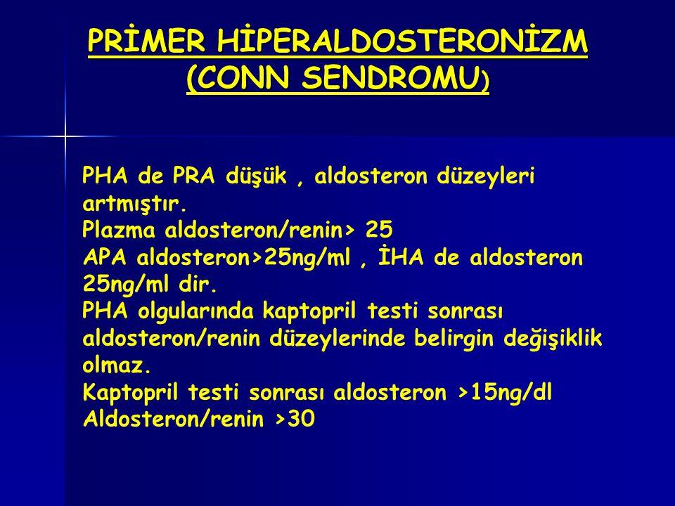 PRİMER HİPERALDOSTERONİZM (CONN SENDROMU ) PHA de PRA düşük, aldosteron düzeyleri artmıştır. Plazma aldosteron/renin> 25 APA aldosteron>25ng/ml, İHA d