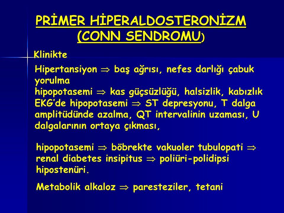 PRİMER HİPERALDOSTERONİZM (CONN SENDROMU ) Hipertansiyon  baş ağrısı, nefes darlığı çabuk yorulma hipopotasemi  kas güçsüzlüğü, halsizlik, kabızlık