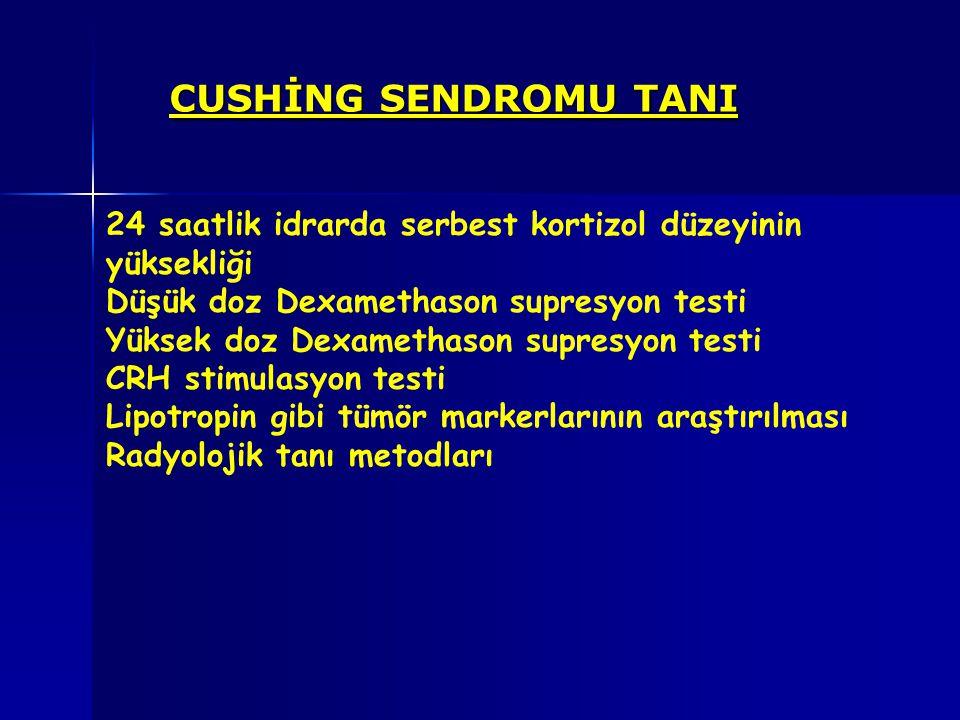CUSHİNG SENDROMU TANI 24 saatlik idrarda serbest kortizol düzeyinin yüksekliği Düşük doz Dexamethason supresyon testi Yüksek doz Dexamethason supresyo