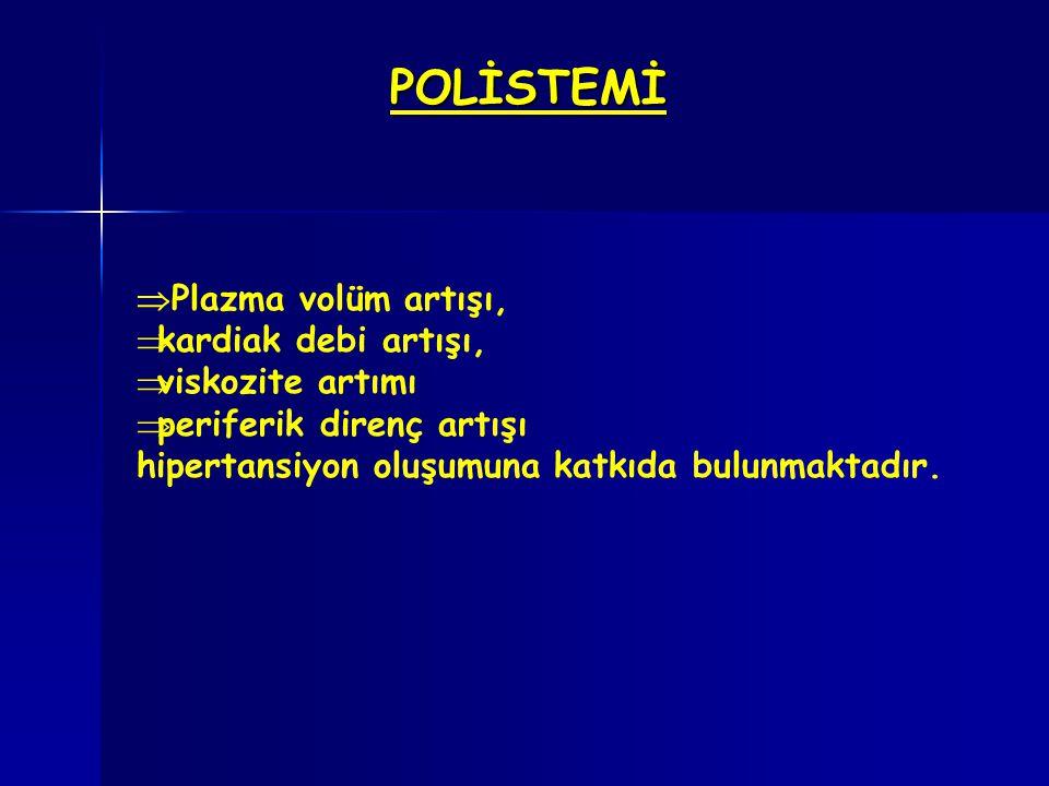 POLİSTEMİ  Plazma volüm artışı,  kardiak debi artışı,  viskozite artımı  periferik direnç artışı hipertansiyon oluşumuna katkıda bulunmaktadır.