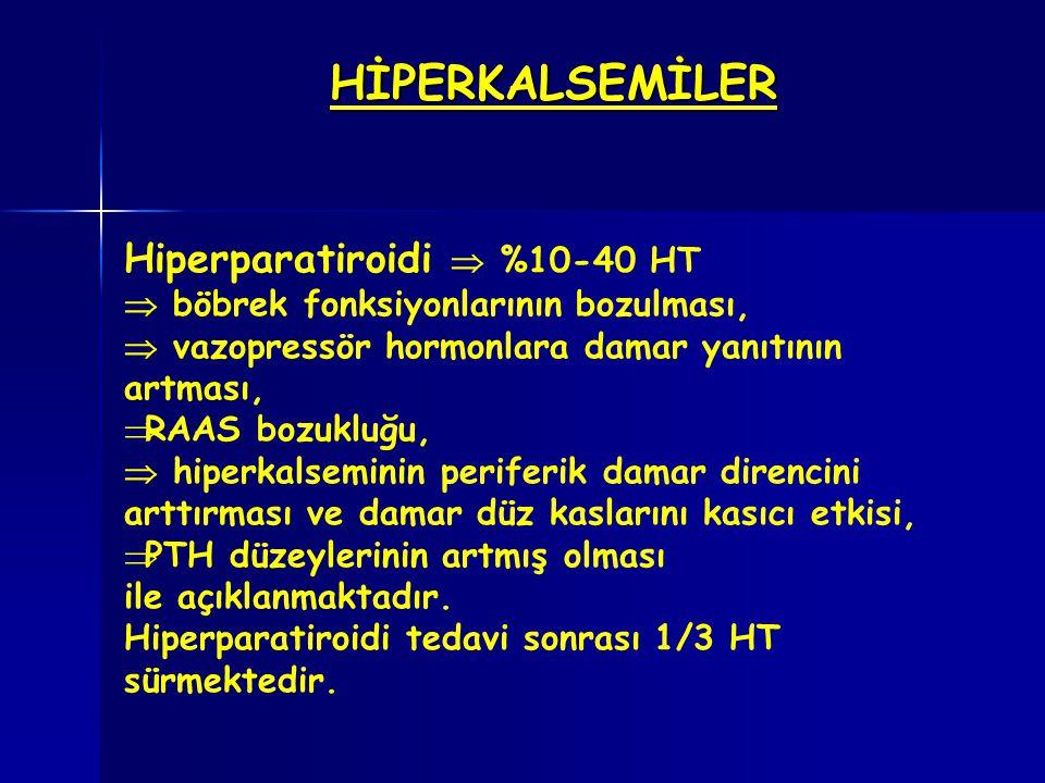 HİPERKALSEMİLER Hiperparatiroidi  %10-40 HT  böbrek fonksiyonlarının bozulması,  vazopressör hormonlara damar yanıtının artması,  RAAS bozukluğu,