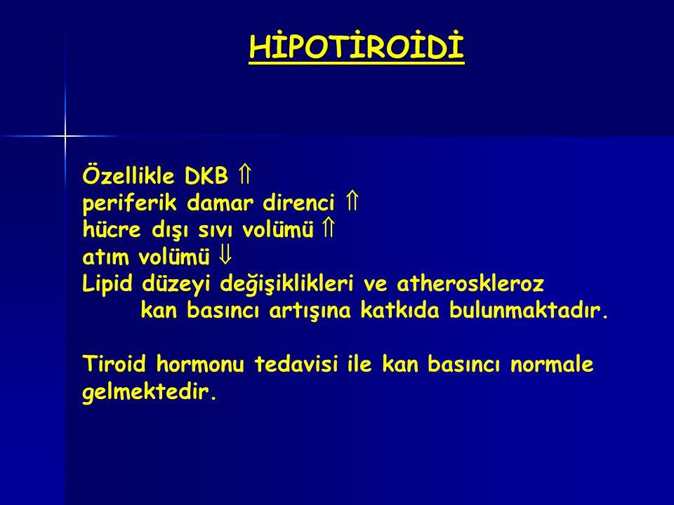 HİPOTİROİDİ Özellikle DKB  periferik damar direnci  hücre dışı sıvı volümü  atım volümü  Lipid düzeyi değişiklikleri ve atheroskleroz kan basıncı
