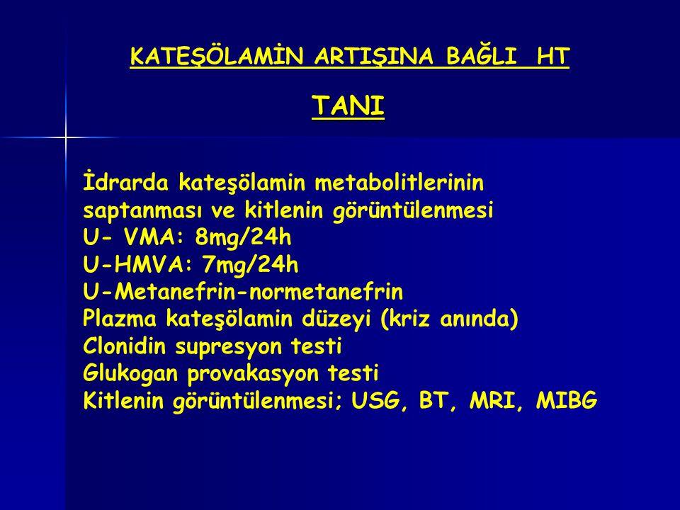 KATEŞÖLAMİN ARTIŞINA BAĞLI HT TANI İdrarda kateşölamin metabolitlerinin saptanması ve kitlenin görüntülenmesi U- VMA: 8mg/24h U-HMVA: 7mg/24h U-Metane