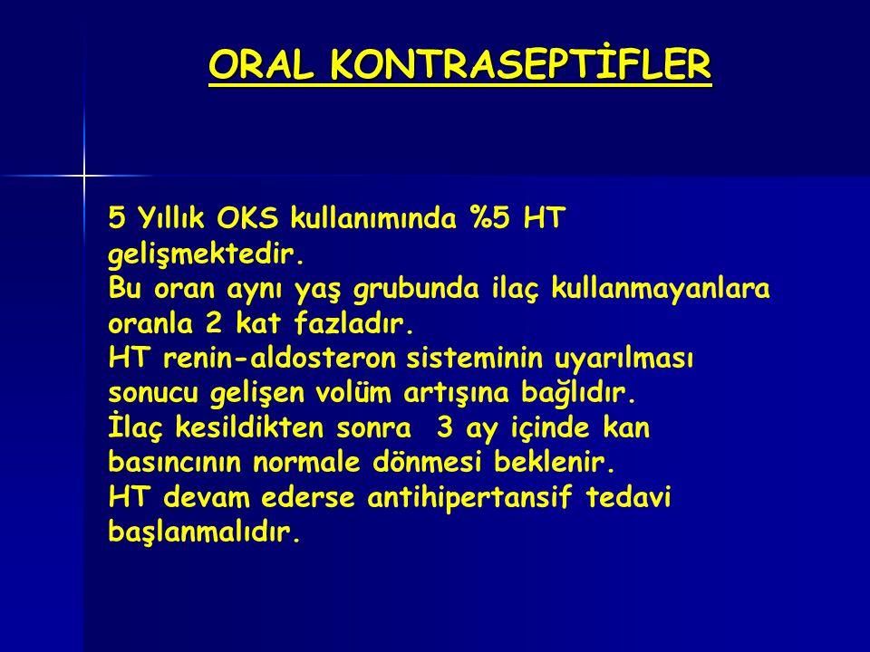 ORAL KONTRASEPTİFLER 5 Yıllık OKS kullanımında %5 HT gelişmektedir. Bu oran aynı yaş grubunda ilaç kullanmayanlara oranla 2 kat fazladır. HT renin-ald