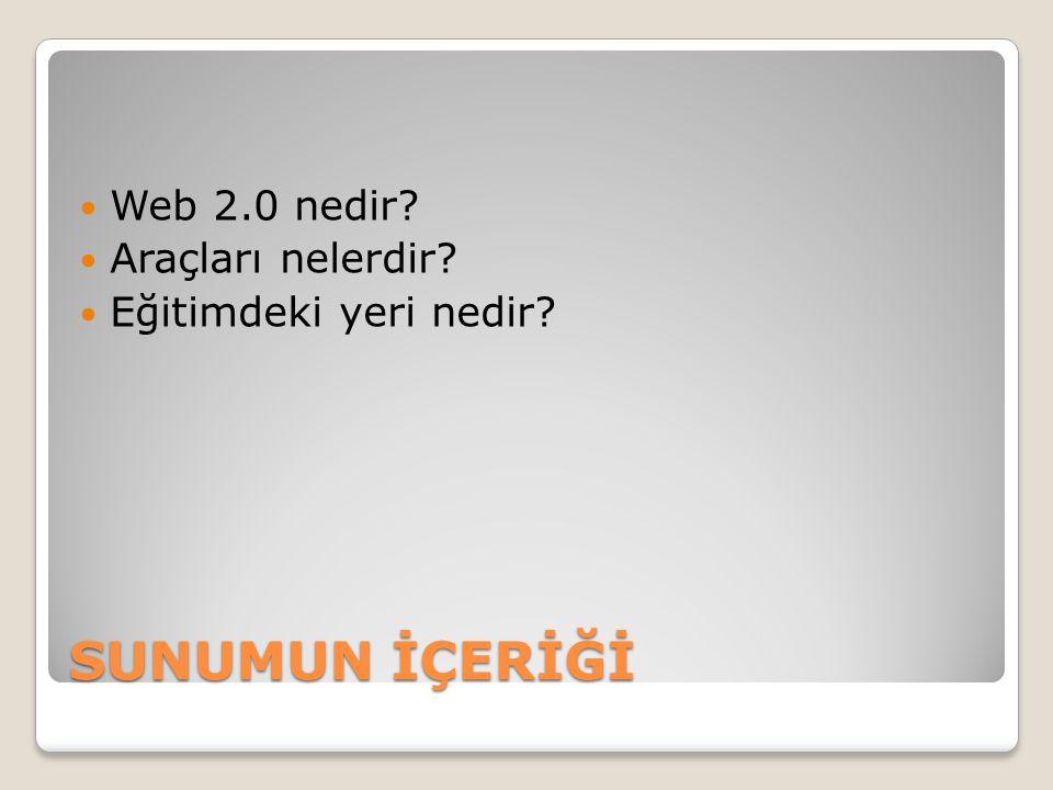 Web 2.0 nedir.İnternet kullanıcılarının ortaklaşa ve paylaşarak yarattığı sistemi tanımlar.