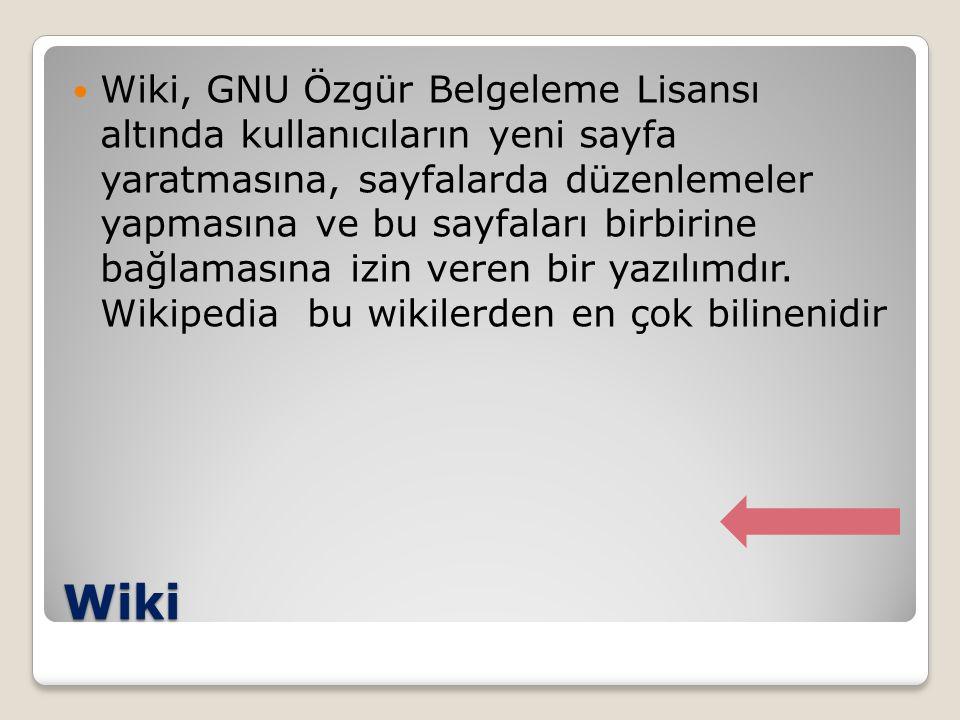 Wiki Wiki, GNU Özgür Belgeleme Lisansı altında kullanıcıların yeni sayfa yaratmasına, sayfalarda düzenlemeler yapmasına ve bu sayfaları birbirine bağl