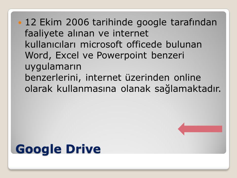 Google Drive 12 Ekim 2006 tarihinde google tarafından faaliyete alınan ve internet kullanıcıları microsoft officede bulunan Word, Excel ve Powerpoint