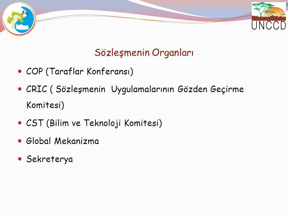 Sözleşmenin Organları COP (Taraflar Konferansı) CRIC ( Sözleşmenin Uygulamalarının Gözden Geçirme Komitesi) CST (Bilim ve Teknoloji Komitesi) Global M