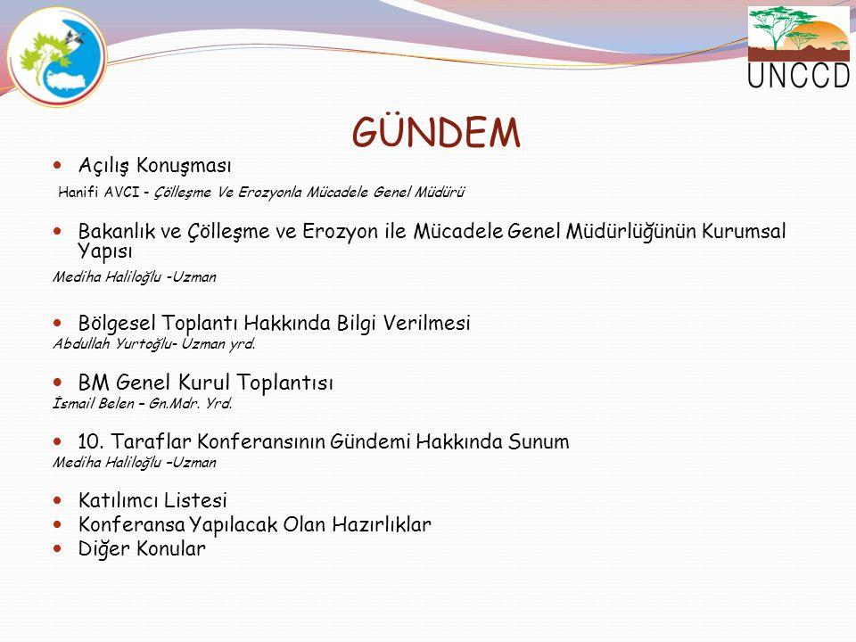 GÜNDEM Açılış Konuşması Hanifi AVCI - Çölleşme Ve Erozyonla Mücadele Genel Müdürü Bakanlık ve Çölleşme ve Erozyon ile Mücadele Genel Müdürlüğünün Kuru