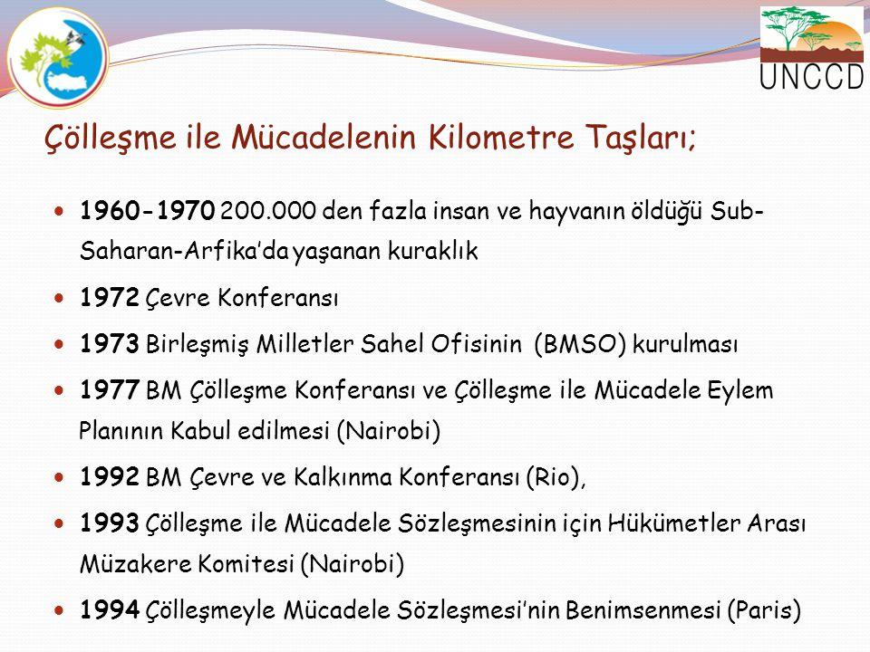 Çölleşme ile Mücadelenin Kilometre Taşları; 1996 Çölleşmeyle Mücadele Sözleşmesi'nin yürürlüğe Girmesi (26 Aralık)  1997 Birinci Taraflar Toplantısı (COP 1) (Roma-İtalya) , TK ve yardımcı organlarının kurulması, Global Mekanizmanın (GM) görevlerinin oluşturulması ve sekreteryasının kurulması 1998 Türkiye'nin Sözleşmeye Taraf Olması 1998 Ulusal Bilgilendirme Semineri (20-22 Mayıs, İzmir)  1998 COP 2 (Dakar-Senegal)  BMSO ve UNCCD'nin Oluşumu, Sekreteryanın ara dönem stratejilerinin görüşülmesi, ilk yuvarlak masa parlamenterler toplantısı deklarasyonu
