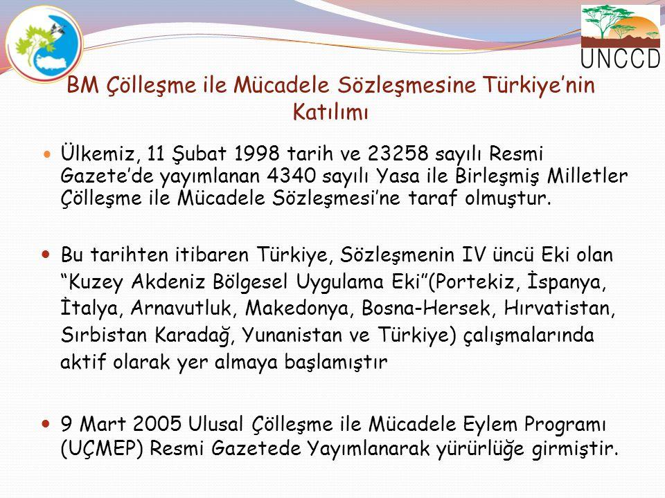 BM Çölleşme ile Mücadele Sözleşmesine Türkiye'nin Katılımı Ülkemiz, 11 Şubat 1998 tarih ve 23258 sayılı Resmi Gazete'de yayımlanan 4340 sayılı Yasa il