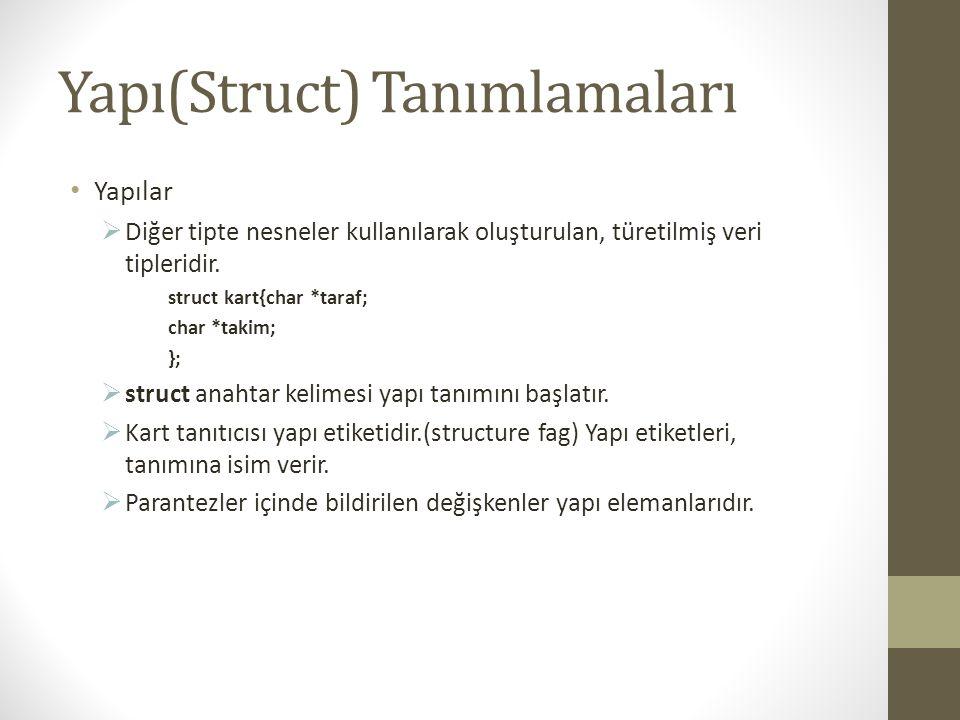 Yapı(Struct) Tanımlamaları Yapılar  Diğer tipte nesneler kullanılarak oluşturulan, türetilmiş veri tipleridir. struct kart{char *taraf; char *takim;