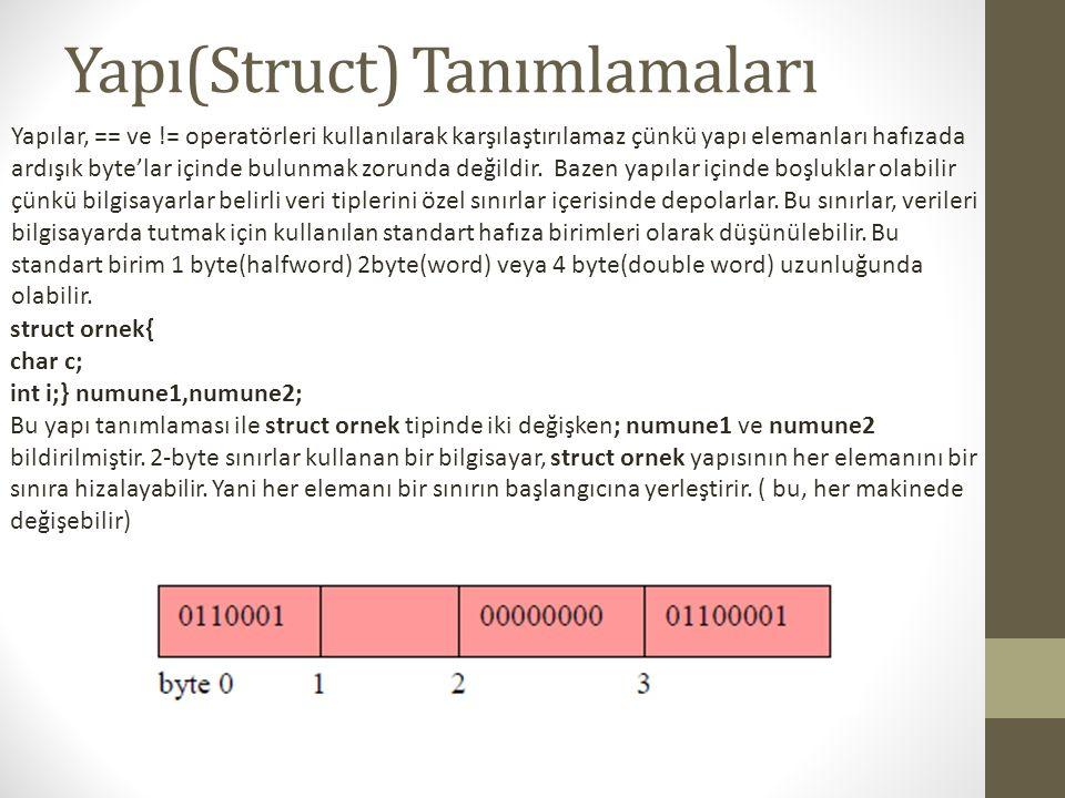 Yapı(Struct) Tanımlamaları Yapılar, == ve != operatörleri kullanılarak karşılaştırılamaz çünkü yapı elemanları hafızada ardışık byte'lar içinde bulunm
