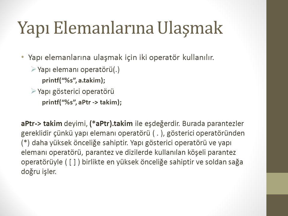 """Yapı Elemanlarına Ulaşmak Yapı elemanlarına ulaşmak için iki operatör kullanılır.  Yapı elemanı operatörü(.) printf(""""%s"""", a.takim);  Yapı gösterici"""