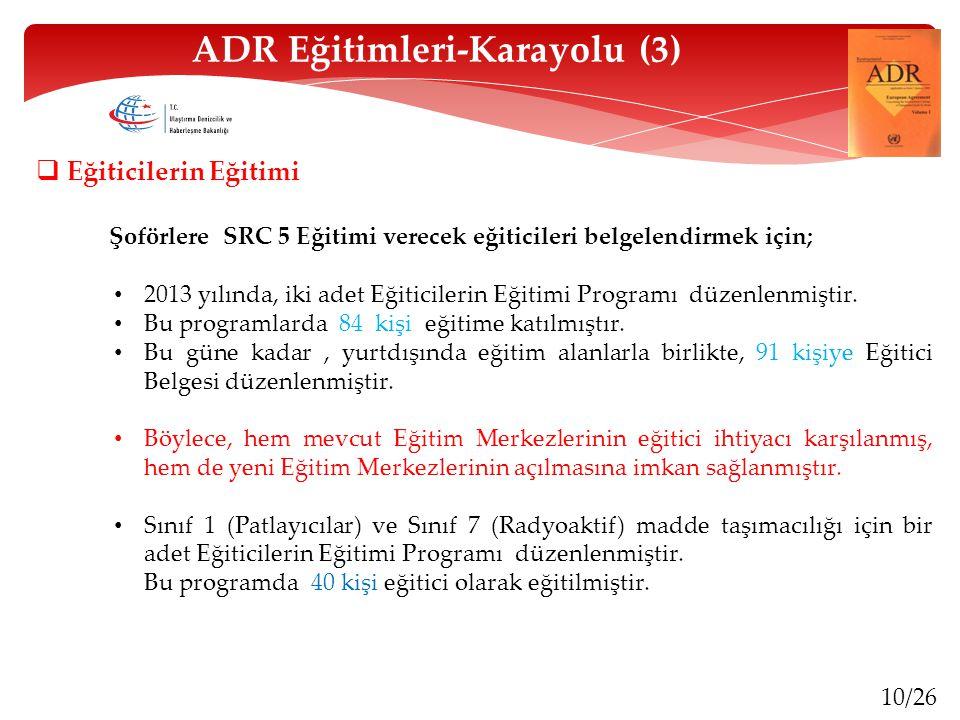 10/26 ADR Eğitimleri-Karayolu (3)  Eğiticilerin Eğitimi Şoförlere SRC 5 Eğitimi verecek eğiticileri belgelendirmek için; 2013 yılında, iki adet Eğiti