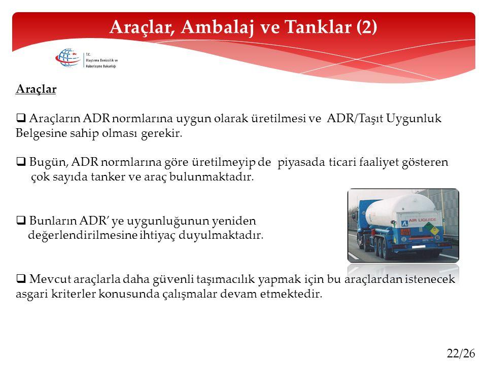22/26 Araçlar  Araçların ADR normlarına uygun olarak üretilmesi ve ADR/Taşıt Uygunluk Belgesine sahip olması gerekir.  Bugün, ADR normlarına göre ür