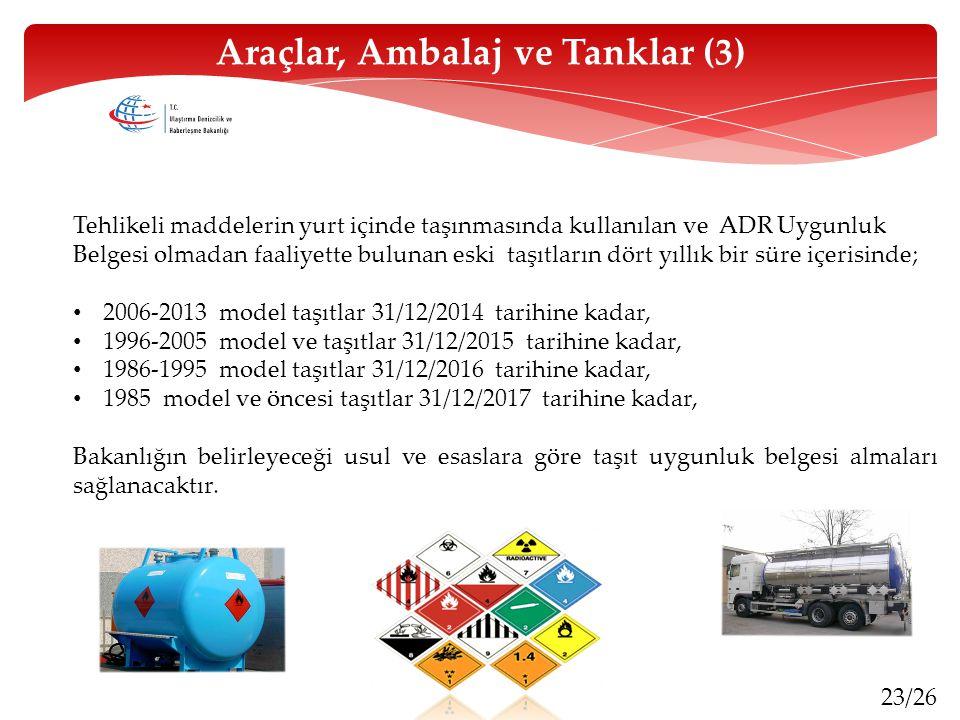23/26 Tehlikeli maddelerin yurt içinde taşınmasında kullanılan ve ADR Uygunluk Belgesi olmadan faaliyette bulunan eski taşıtların dört yıllık bir süre