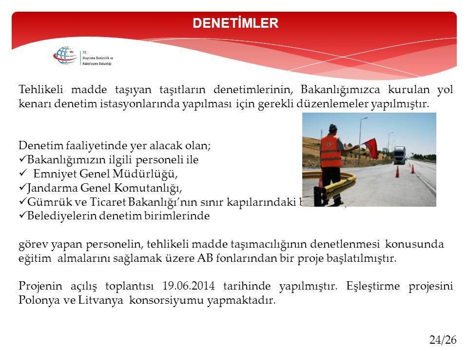 24/26 Tehlikeli madde taşıyan taşıtların denetimlerinin, Bakanlığımızca kurulan yol kenarı denetim istasyonlarında yapılması için gerekli düzenlemeler