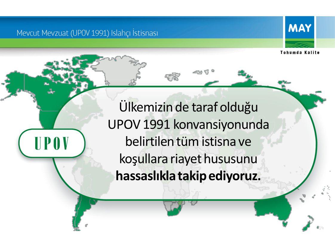 Ülkemizin de taraf olduğu UPOV 1991 konvansiyonunda belirtilen tüm istisna ve koşullara riayet hususunu hassaslıkla takip ediyoruz.