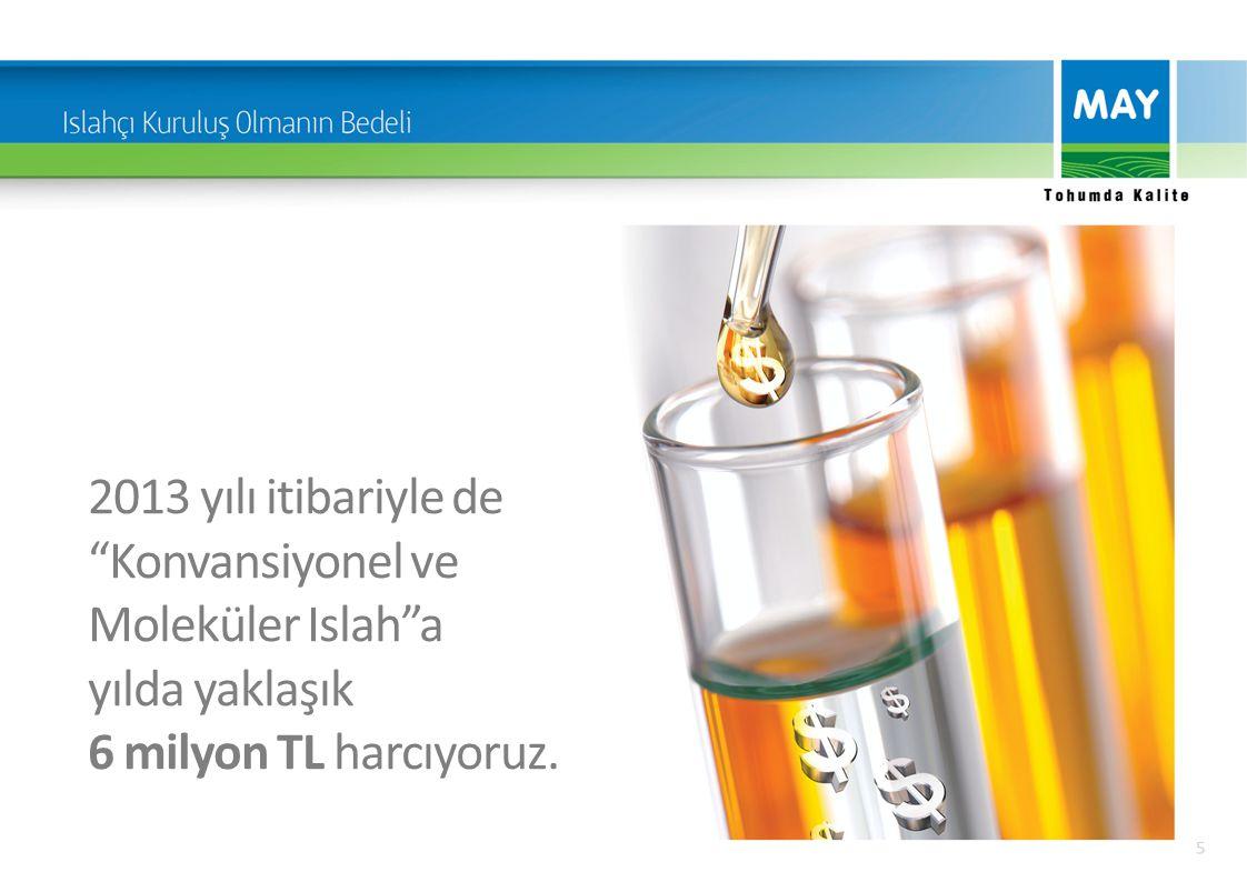 """2013 yılı itibariyle de """"Konvansiyonel ve Moleküler Islah""""a yılda yaklaşık 6 milyon TL harcıyoruz."""