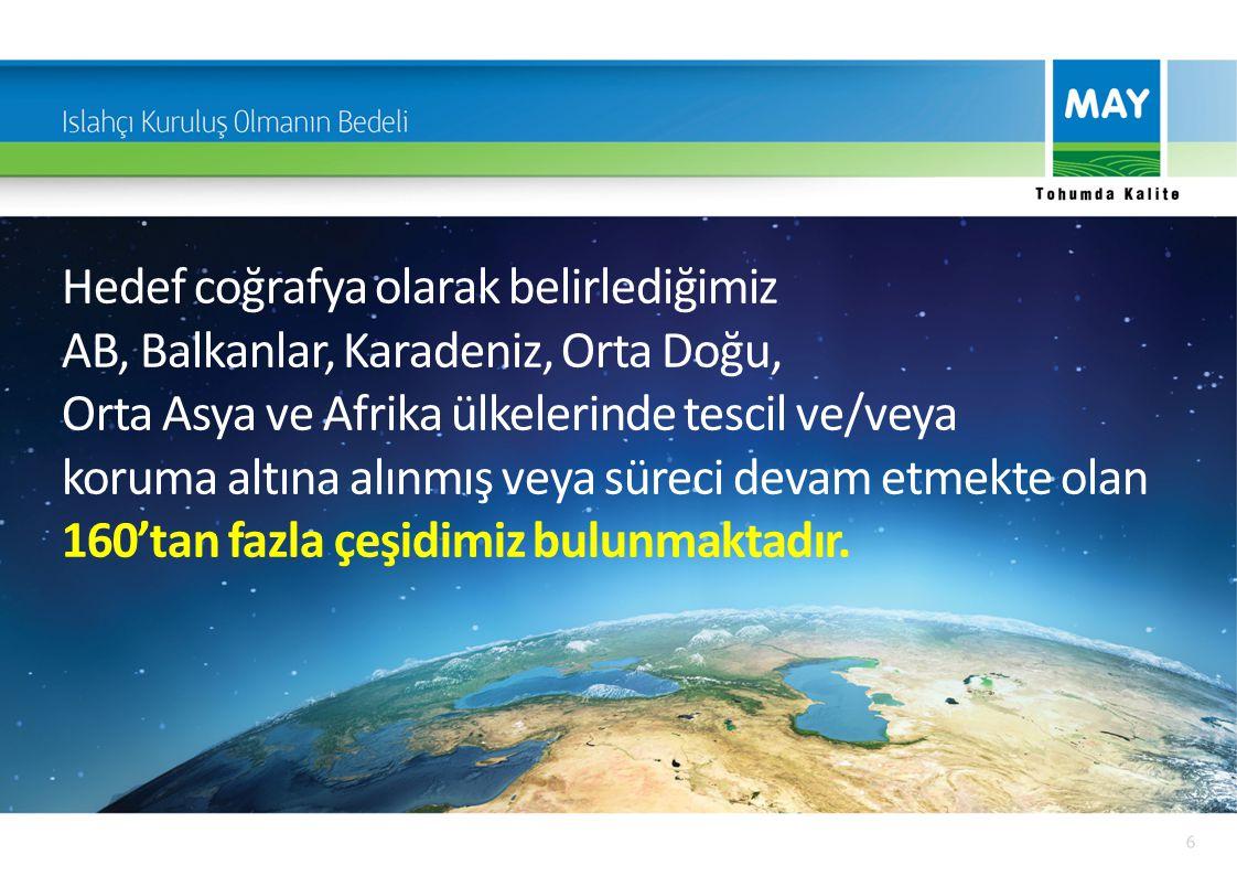 Hedef coğrafya olarak belirlediğimiz AB, Balkanlar, Karadeniz, Orta Doğu, Orta Asya ve Afrika ülkelerinde tescil ve/veya koruma altına alınmış veya sü
