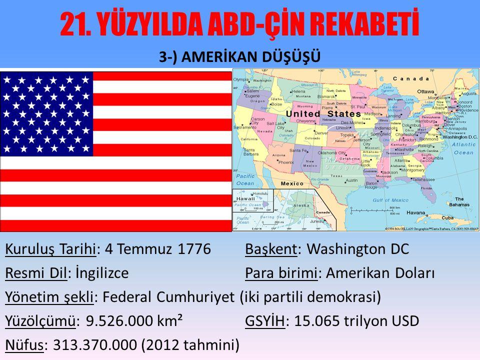21. YÜZYILDA ABD-ÇİN REKABETİ 3-) AMERİKAN DÜŞÜŞÜ Kuruluş Tarihi: 4 Temmuz 1776Başkent: Washington DC Resmi Dil: İngilizcePara birimi: Amerikan Doları