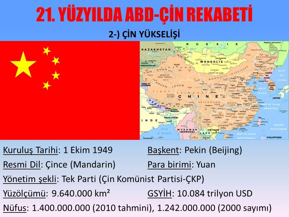 21. YÜZYILDA ABD-ÇİN REKABETİ 2-) ÇİN YÜKSELİŞİ Kuruluş Tarihi: 1 Ekim 1949 Başkent: Pekin (Beijing) Resmi Dil: Çince (Mandarin) Para birimi: Yuan Yön