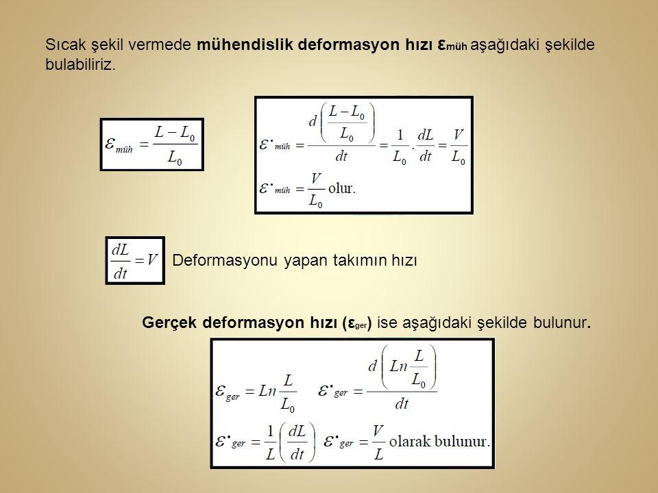 Sıcak şekil vermede mühendislik deformasyon hızı ε müh aşağıdaki şekilde bulabiliriz. Deformasyonu yapan takımın hızı Gerçek deformasyon hızı (ε ger )