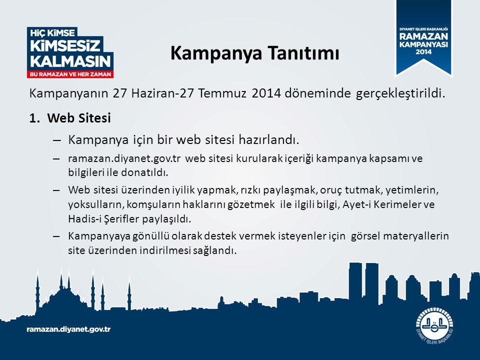 Kampanyanın 27 Haziran-27 Temmuz 2014 döneminde gerçekleştirildi. 1.Web Sitesi – Kampanya için bir web sitesi hazırlandı. – ramazan.diyanet.gov.tr web