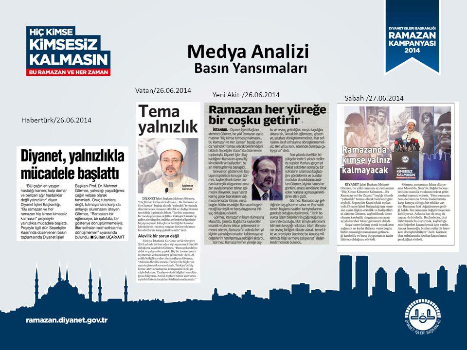 Medya Analizi Basın Yansımaları Habertürk/26.06.2014 Vatan/26.06.2014 Yeni Akit /26.06.2014 Sabah /27.06.2014