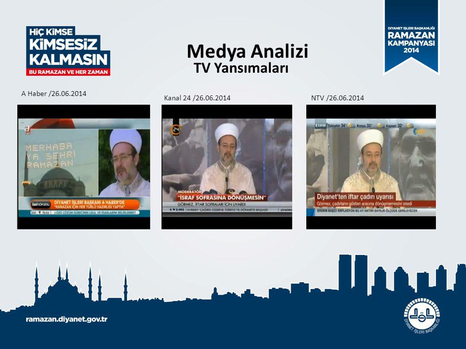 Medya Analizi TV Yansımaları A Haber /26.06.2014 Kanal 24 /26.06.2014 NTV /26.06.2014