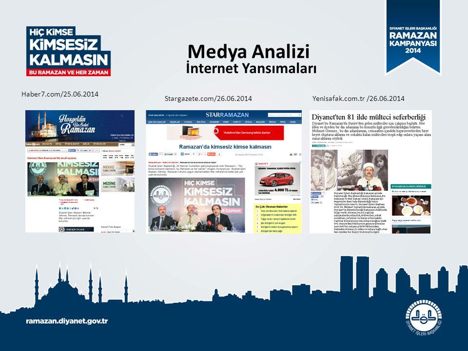 Medya Analizi İnternet Yansımaları Haber7.com/25.06.2014 Stargazete.com/26.06.2014 Yenisafak.com.tr /26.06.2014