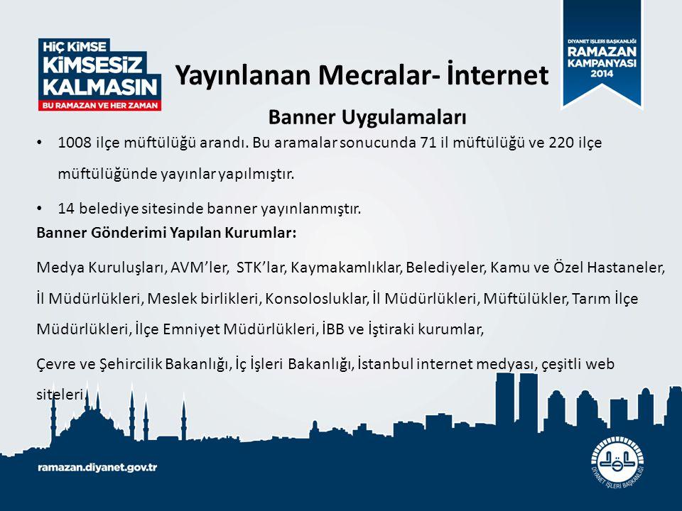 1008 ilçe müftülüğü arandı. Bu aramalar sonucunda 71 il müftülüğü ve 220 ilçe müftülüğünde yayınlar yapılmıştır. 14 belediye sitesinde banner yayınlan