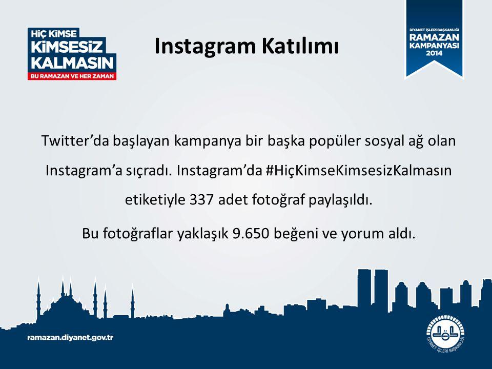 Instagram Katılımı Twitter'da başlayan kampanya bir başka popüler sosyal ağ olan Instagram'a sıçradı. Instagram'da #HiçKimseKimsesizKalmasın etiketiyl