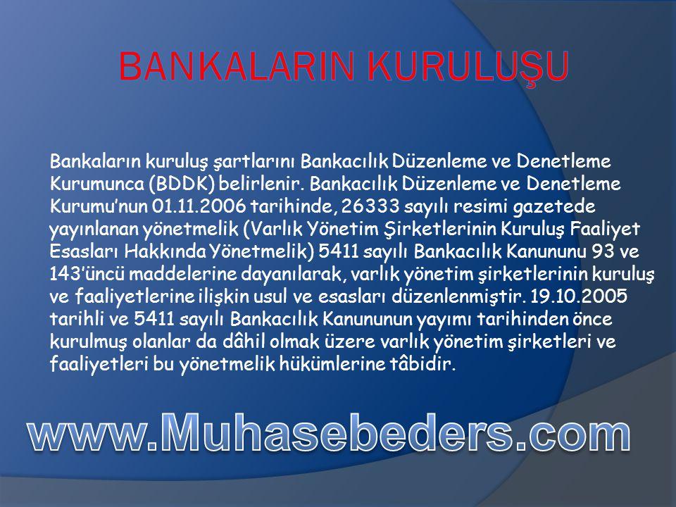 Bankaların kuruluş şartlarını Bankacılık Düzenleme ve Denetleme Kurumunca (BDDK) belirlenir. Bankacılık Düzenleme ve Denetleme Kurumu'nun 01.11.2006 t