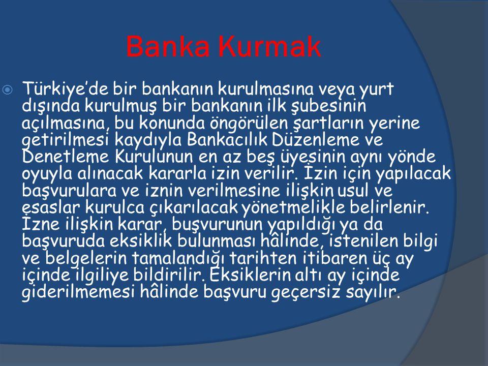 Banka Kurmak  Türkiye'de bir bankanın kurulmasına veya yurt dışında kurulmuş bir bankanın ilk şubesinin açılmasına, bu konunda öngörülen şartların ye