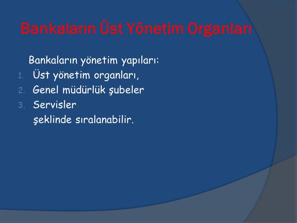 Bankaların Üst Yönetim Organları Bankaların yönetim yapıları: 1. Üst yönetim organları, 2. Genel müdürlük şubeler 3. Servisler şeklinde sıralanabilir.