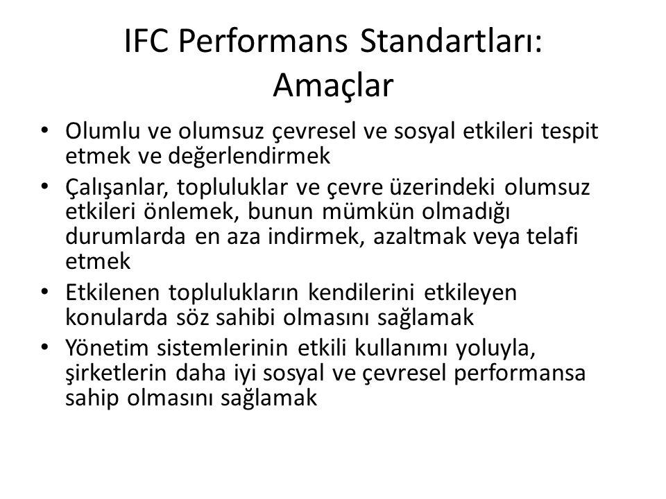 IFC Performans Standartları: Amaçlar Olumlu ve olumsuz çevresel ve sosyal etkileri tespit etmek ve değerlendirmek Çalışanlar, topluluklar ve çevre üze